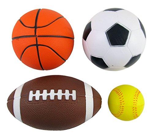 Set of 4 Sports Balls for Kids Soccer Ball Basketball Football Tennis Ball By Bo Toys