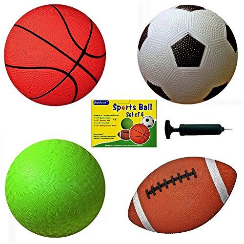 Set of 4 Sports Balls with 1 Pump 5 Soccer Ball 5 Basketball 5 Playground Ball 65 Football