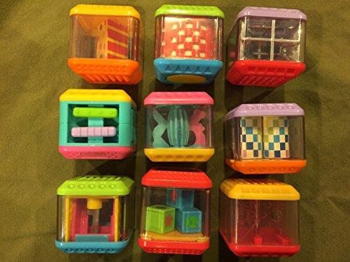 9 USED Fisher Price Peek-a-blocks toddler blocks stacking toys lot