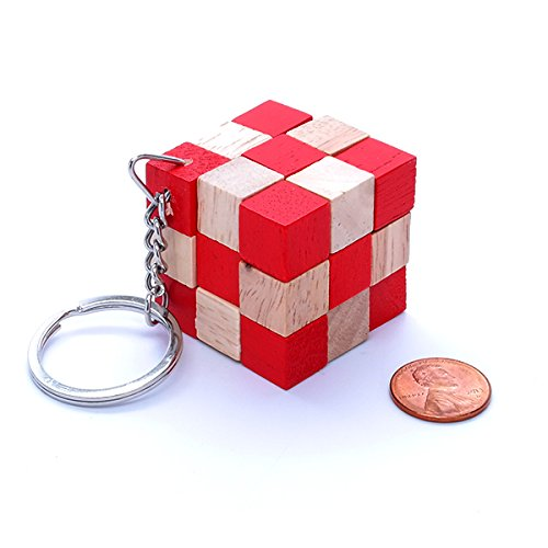 3x3x3 Snake Cube 14 Wooden Puzzle Keychain Red Wood Checker Twisty Toy Serpent Cube