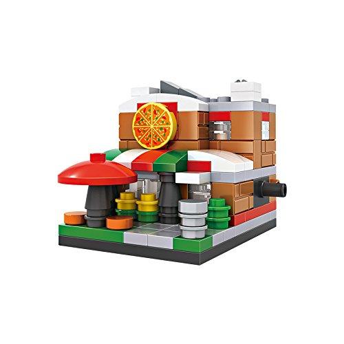 Micro-Brickland Italian Style Pizza Shop Mini-Sized Architecture Building Kits Small Building Block Set 126 Pieces