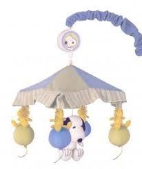 RARE Peanuts BABY SNOOPY Nursery Mobile MUSICAL Peek-A-Boo