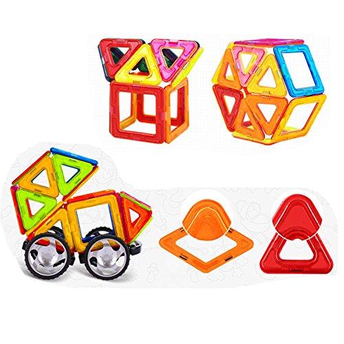 Bluestar Educational Magnetic Blocks Building Tiles Blocks Stack Set 64pcs Magnet Construction Toys for Kids
