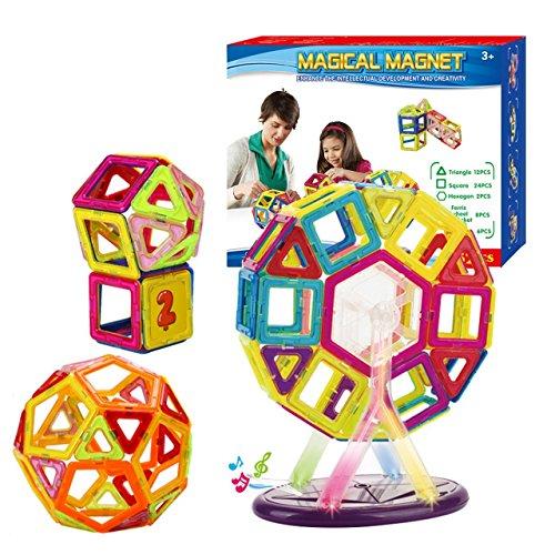 Sanmersen Magnetic Building Blocks 52 Piece Educational Magnet Tiles Construction Stacking Pre-Kindergarten Toys Set For Kids