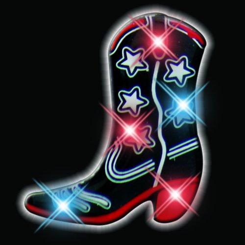 Light Up Black Cowboy Boot Flashing Blinking LED Body Light Lapel Pins Set of 25