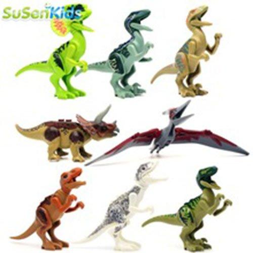 8pcs Jurassic World Park Minifigures Dinosaur Bricks Mini Figures Building Blocks Super Heroes baby toys Compatible with Lego