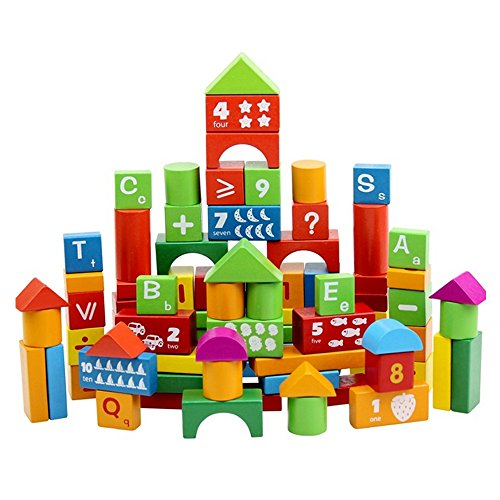 ABADA MATASA 100-Piece Wood Blocks Set Building Blocks Baby Toys
