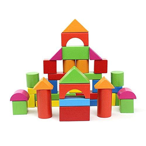 ABADA MATASA 40-Piece Wood Blocks Set Baby Toys Building Blocks