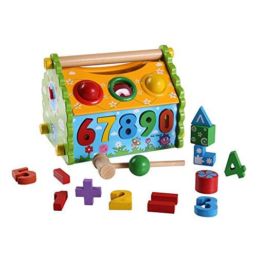 ABADA MATASA Baby Wooden Toys Blocks House Baby Matching Game 1 Set