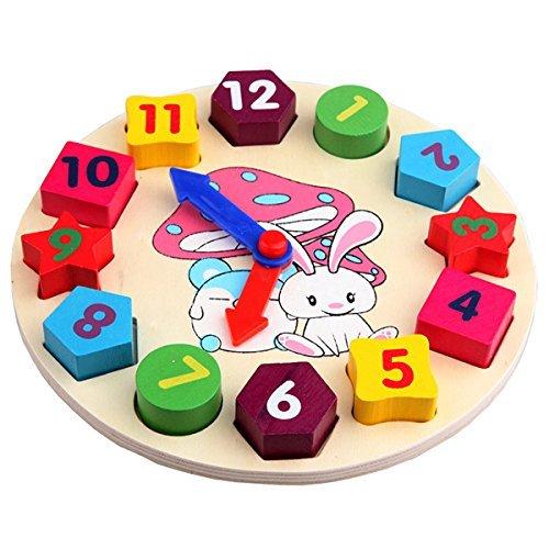 SODIALR Baby Kids Wooden Toys Digital Geometry Clock Educational Toy Blocks Toys