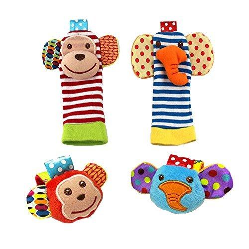 1 X Baby Wrist Rattle Foot Finder Toys - Set of 4PCS Baby Infant Soft Toy  Monkey Elephant  by Bluefun