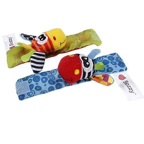 1 pair Baby Infant Rattle Cartoon Plush Toys Garden Bug Baby Wrist Rattle ColorRandom