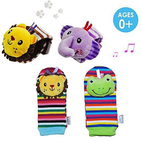Daisy 4 x Animal Infant Baby Kids Wrist Rattle Foot Finder Set Developmental Soft Toys