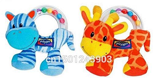 Lovely Baby Infant Hand Rattle Beads Animal Soft Plush Doll Educational Toys 2pcs