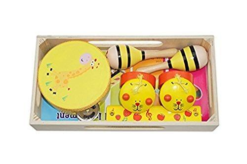 Bilipala Baby Music Toys Wooden Maraca harmonica tambourine and castanets