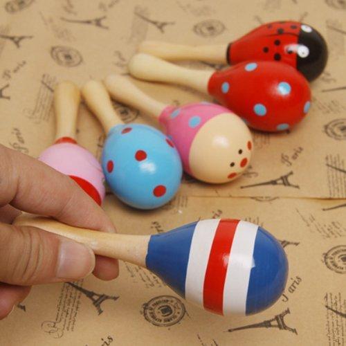 TinkSky Funny Children Kids Wooden Maraca Rattle Shaker Musical Instrument Educational Toy Random Color Pattern