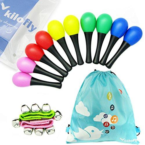 kilofly Musical Toys Rhythm Plastic Egg Maracas Value Pack 5 colors Set of 10  2 Wrist Bells