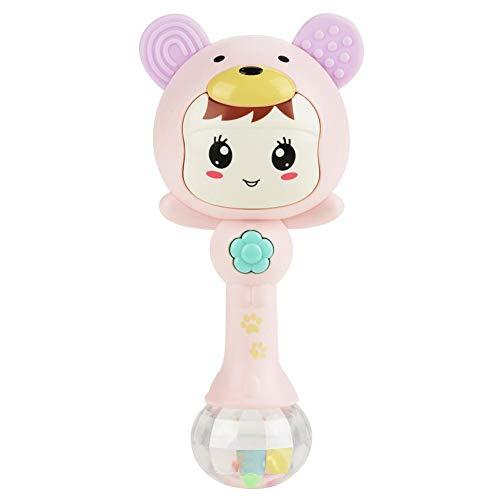 ViaGasaFamido Plastic Rattle ToysEasy Grasp Soft Flash Change Light Sweet Music Carton Baby Face Shape Baby Hand BellsPink