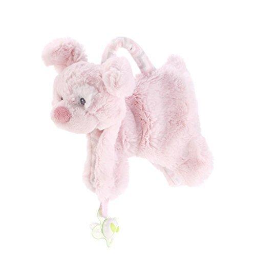 DEMDACO Plush Pacifier Holder Blankie Pink Dog by Demdaco