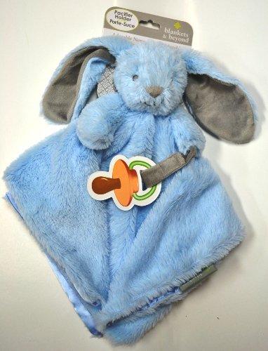 Nunu Blankets Beyond Blue Plush Bunny Security Blanket Pacifier Holder 15 X 15 by NuNU blankets and beyond