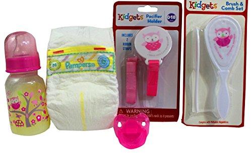 Reborn Baby Doll Girl Brush Pacifier Holder Clip Owl Fake Milk Bottle Diaper Set