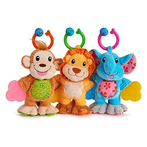 Munchkin Teether Babies Plush Teething Toy Lion Elephant and Monkey 3 Pack
