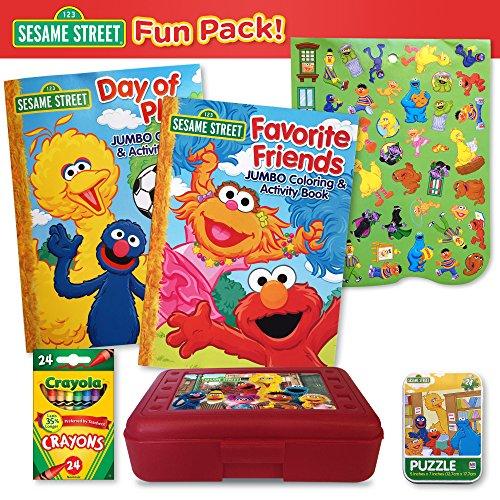 Sesame Street Fun Pack - 2 Sesame Street Coloring Books 24 Ct Crayola Crayons Sesame Street Crayon Box Puzzle Tin Sticker Sheet 6 Pc Set