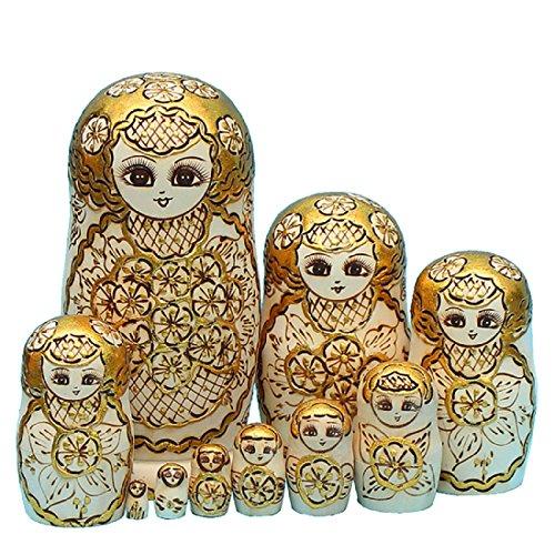 King&Light - 10pcs Gold Plum pattern Russian Nesting Dolls Matryoshka Wooden Toys