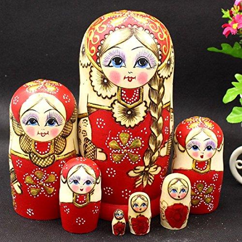 WALAIKA 7pcs Red Braids Beautiful Girl Russian Nesting Dolls Handmade Wooden Matryoshka Toys
