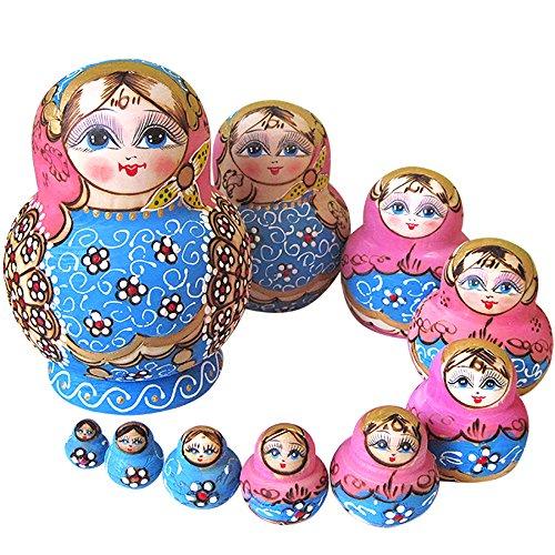YAKELUS 10pcs Russian Nesting Dolls Matryoshka handmade1073