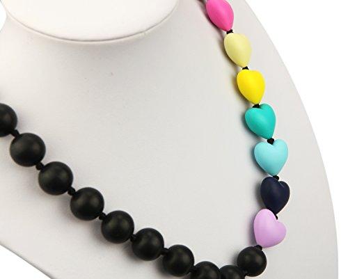 Deeyee Rainbow Heart Baby Teething Nursing Necklace Jewelry - BPA Free and FDA Approved - Black