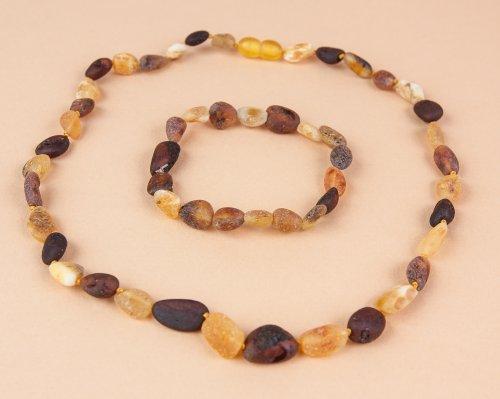 Raw Baltic Amber Teething Necklace 13 and Elastic Bracelet 6