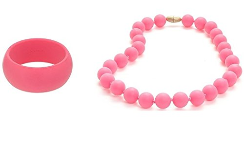 Chewbeads Teething Necklace and Bracelet Gift Set Pink