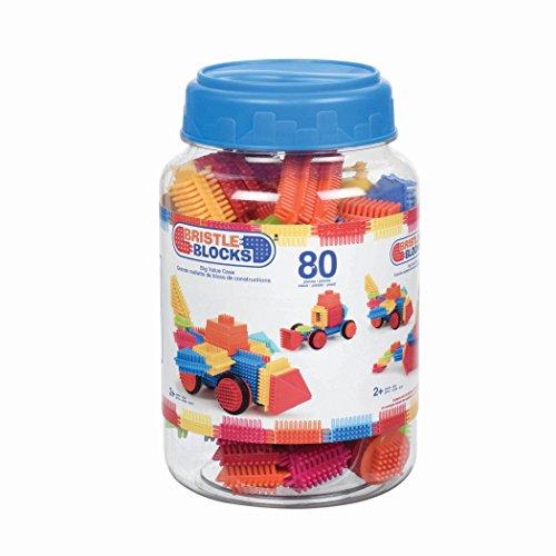 Bristle Blocks by Battat - The Official Bristle Blocks - 80Piece Big Value In A Storage Bin - STEM Toys 3D Sensory Toy Blocks for Kids - Bpa Free - Building Toys for Creativity Dexterity - 2 Yea