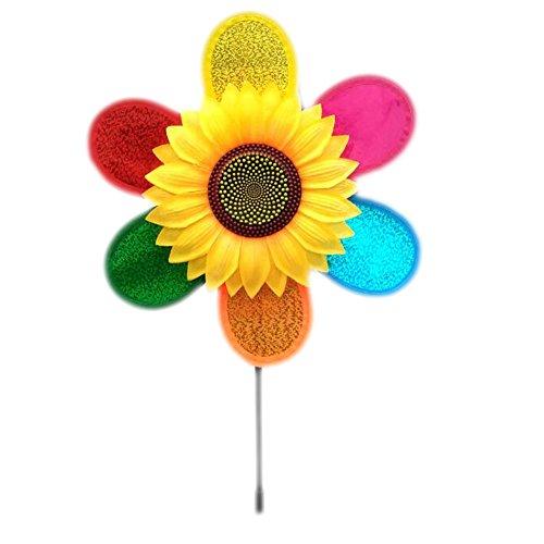 East Majik Set of 4 Sunflower Windmill Toys Garden Decor for Kids Children