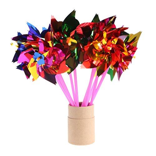 Ruzida 10Pcs Plastic Windmill Pinwheel Wind Spinner Kids Toy Garden Lawn Party Decor