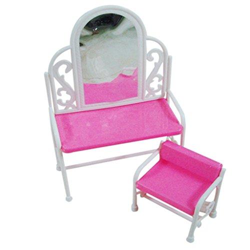 Vintage Princess Dressing Table Chair Set For Barbie Dolls Bedroom Furniture