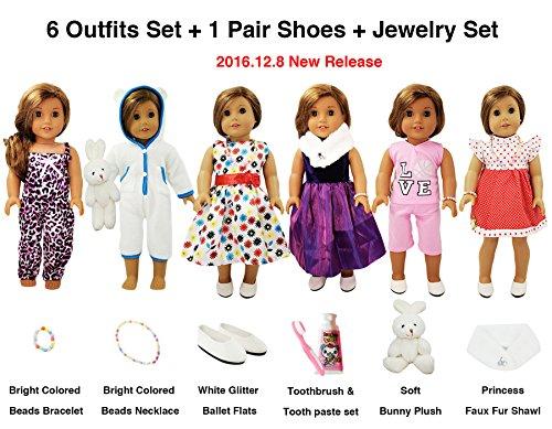 13 Piece American Girl Doll Accessories - 18 inch Doll Clothes Accessories Outfit Set Fits American Girl by WEARDOLL