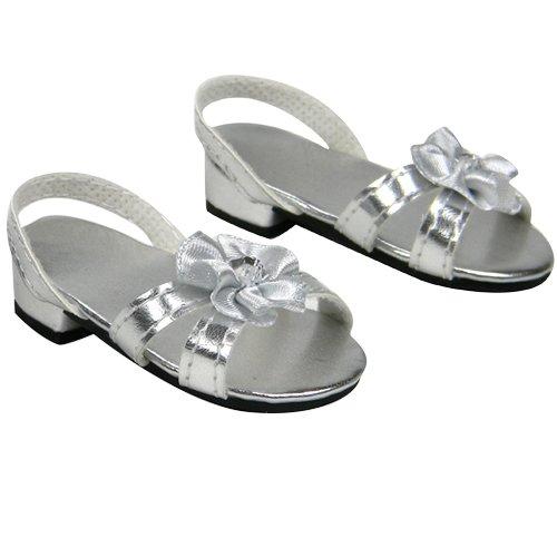 Silver 18 Inch Doll High Heels Fits 18 Inch American Girl Dolls More Doll Shoe Heels W Flower Jewel