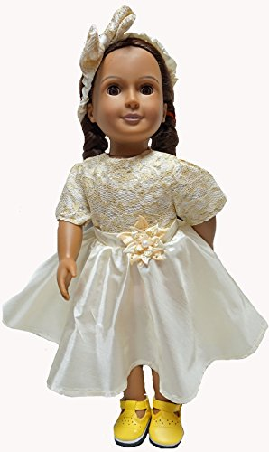Off White Party Dress Doll Clothes Fits 15-16 Inch Baby And 18 Inch Girl Dolls