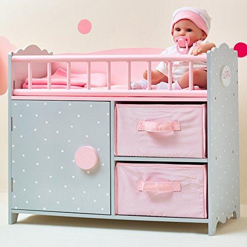 Olivias Little World - Polka Dots Princess 18 Baby Doll Wooden Crib PinkGrey