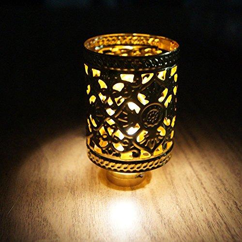BESTLEE Dollhouse Miniature Golden Retro Hollow LED Light Desk Lamp