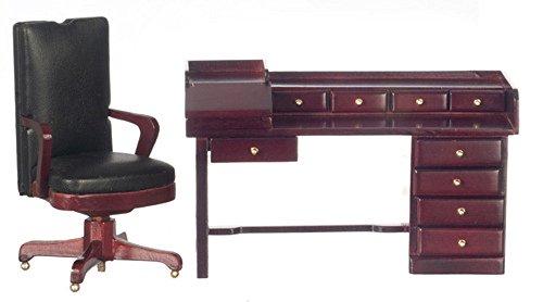 Dollhouse Miniature 112 Scale Desk wChair Nine Drawer Mahogany Finish