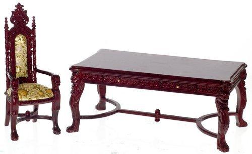 Dollhouse Miniature 112 Scale Lion Leg Desk Set 2pc