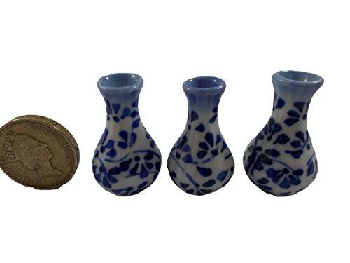 3Pc Miniature Vase Ceramic set Vintage Dollhouse Furniture White and Blue