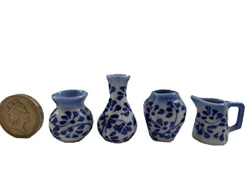 4Pc Lot Miniature Vase Pot Jar Ceramic set Vintage Dollhouse Furniture White and Blue