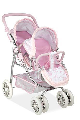 Ann Lauren Dolls by Arias Elegant Pink Print Twin Baby Doll Stroller