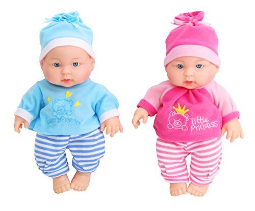 Toyland 21cm Twin Baby Dolls Gift Set - Girl Doll - Boy Doll - Childrens Doll Toys