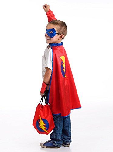 Little Adventures Drawstring Backpack Super Hero Costume Gift Set for Boys - One-Size 3-5 Yrs