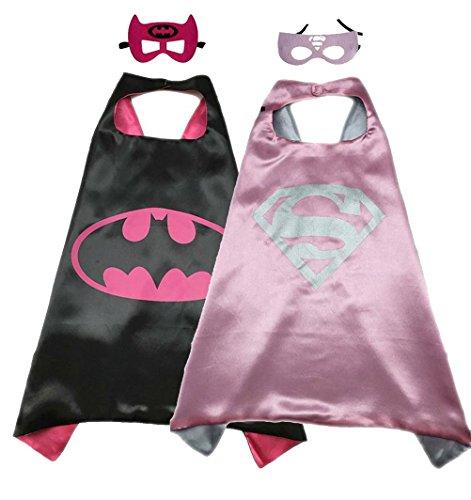 Superhero Costume Super Hero Cape And Mask Dress Up 2 Set For Kids Batgirl-Supergirl